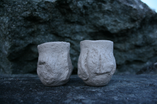 These will be 'guinomi' - saki cups, or shot-cups, with carved footrings. It was too dark to carve the feet with the wooden tools so I wrapped the pots in a slightly damp tea towl and felt my way back down over the boulders.