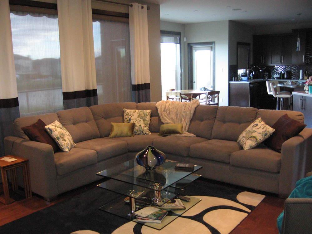 Interior Design Calgary Living Room Custom Drapery and Pillows