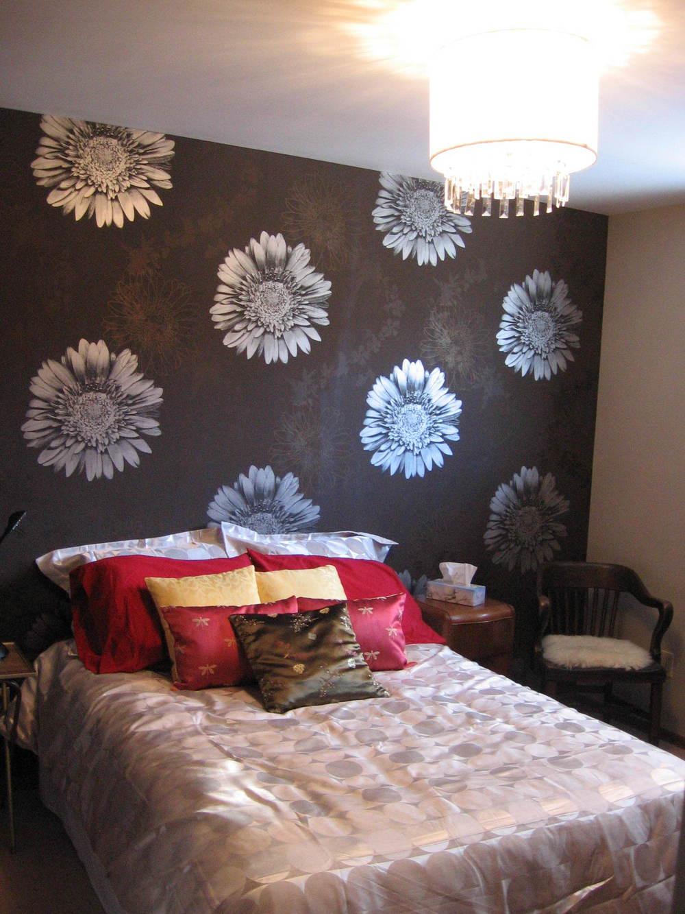 Interior Design Calgary Master Bedroom Floral Wallpaper