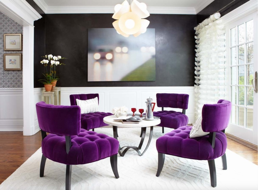 I am in love with the jewel-toned purple cladding these gorgeous seats!  Pairing traditional details like the tufting, with contemporary details like the raised back and squared off legs creates truly timeless chairs!