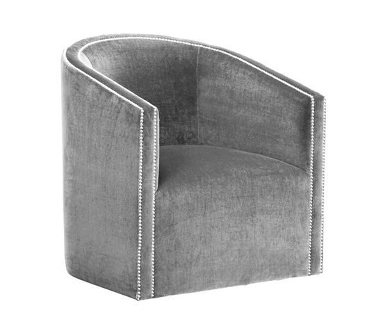 A classic tub chair beautifully upholstered in silver with nail heads to add a little extra bling!