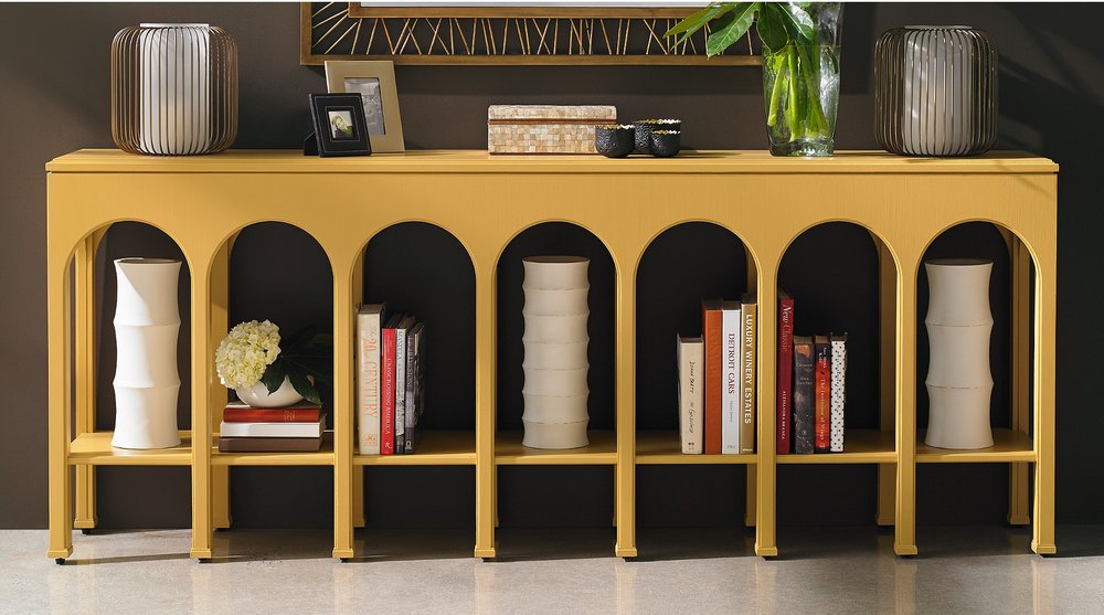 This beauty also comes in a few more sedate finishes but I just love this bold yellow!  Almost verging on a soft mustard, the repeating arches create perfect little gallery spaces to display your prized possessions below!