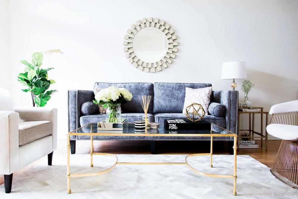 Glam & Brass Living Room | Interior Design Calgary, Virtual Interior Design | Dutch Touch Interiors