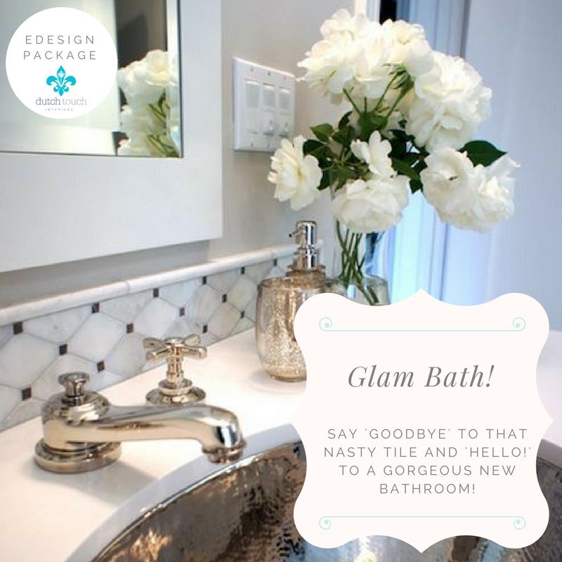 Glam Bath Edesign Package | Interior Design Calgary, Virtual Interior Design & Edesign | Dutch Touch Interiors