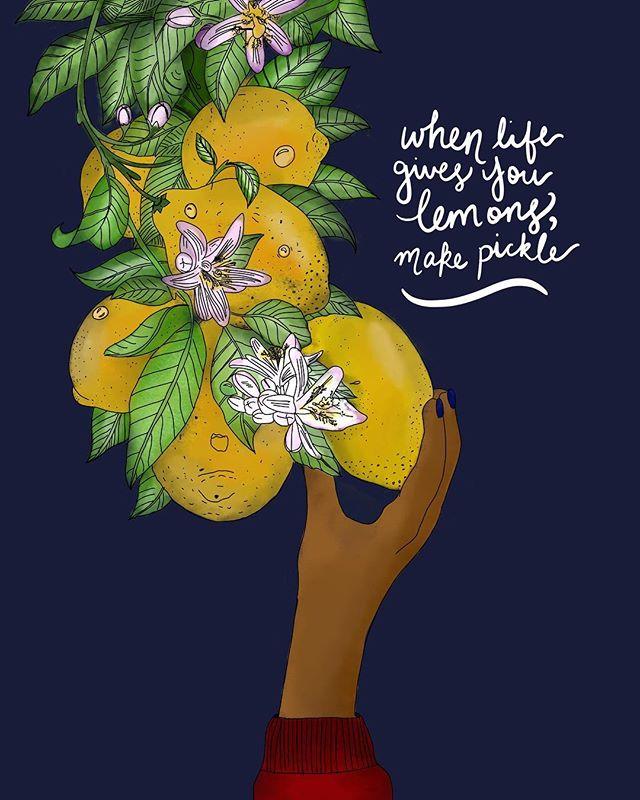 LEMON LIME PICKLE   EVERYTHING 🍋. . . . . . . . . . .#art #artist #illustration #lemons #whenlifegivesyoulemons