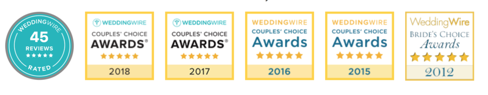 We're proud to have been awarded Couple's Choice four years in a row by Weddingwire.com