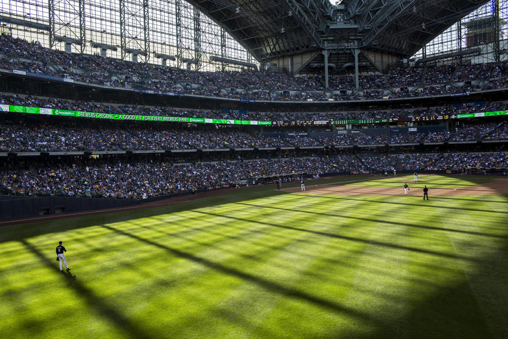 Huge windows and retractable roof create long shadows at Miller Park in Milwaukee, WI.