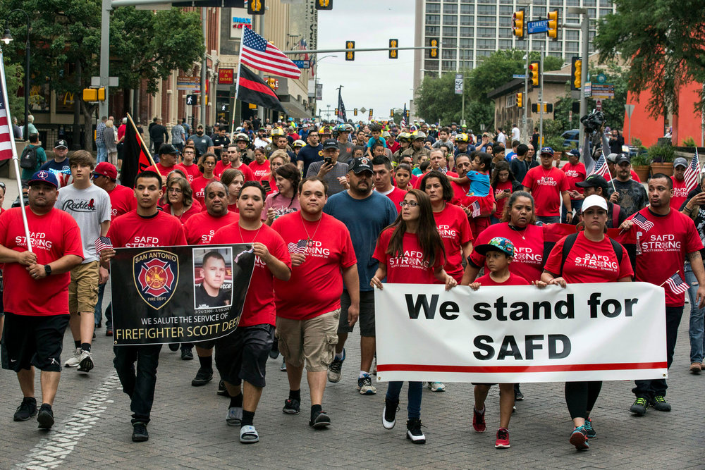 More than 250 people marched to honor fallen firefighter Scott Deem in downtown San Antonio, Texas on May 22, 2017. Story here.