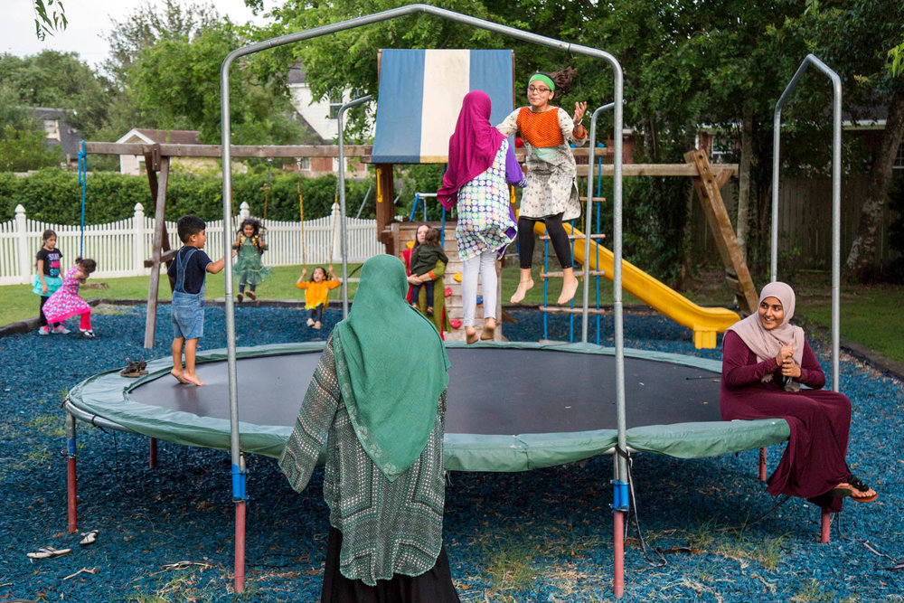 Children play on a playground at the Victoria Islamic Center in Victoria, Texas on May 27, 2017.