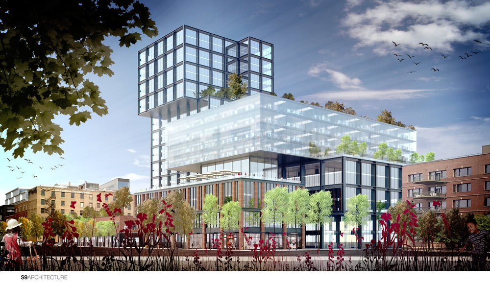 A rendering of a massive office, retail and hotel complex planned for the 1200 block of the Fulton Market District. (photo by S9 Architecture)