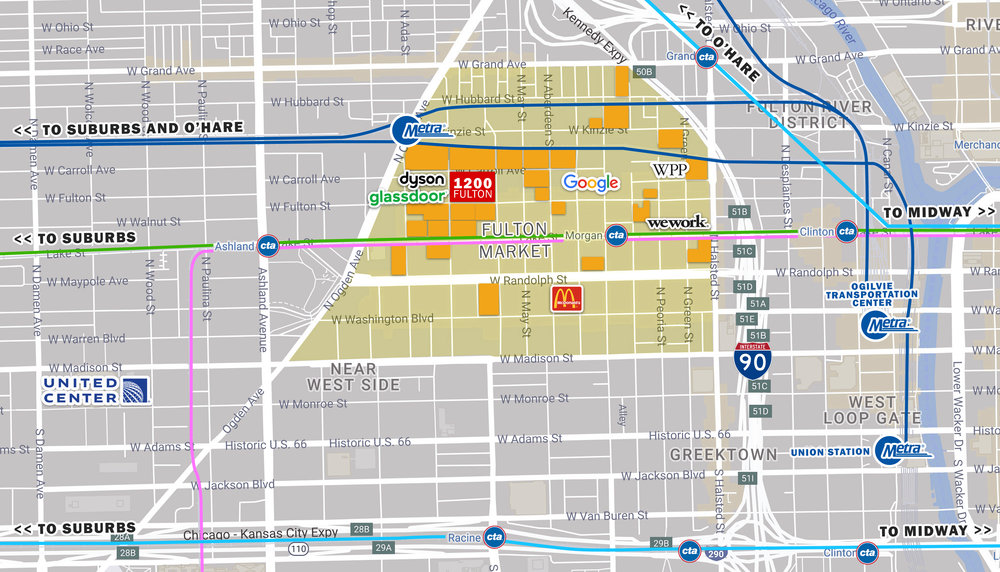 A map showing the location of the 1200 W. Fulton St. proposal. Developers are hoping that a new Metra stop would be built nearby. (photo by Newmark Knight Frank)