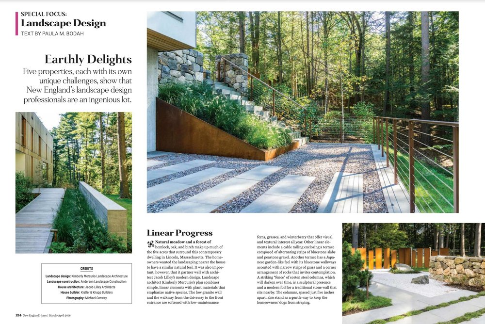 Kimberly Mercurio Landscape Architecture Featured in New England Home Magazine