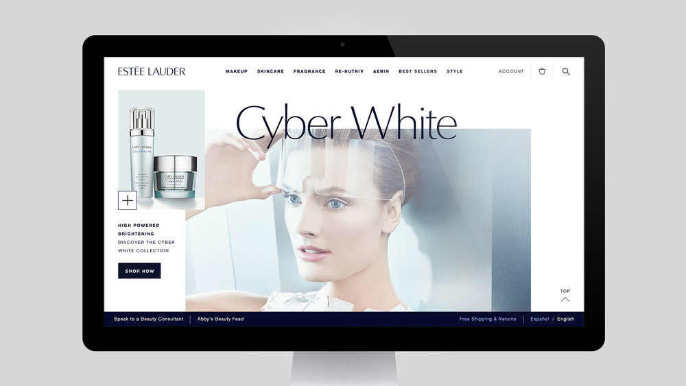 Estée Lauder Responsive Site: Visual and production design.