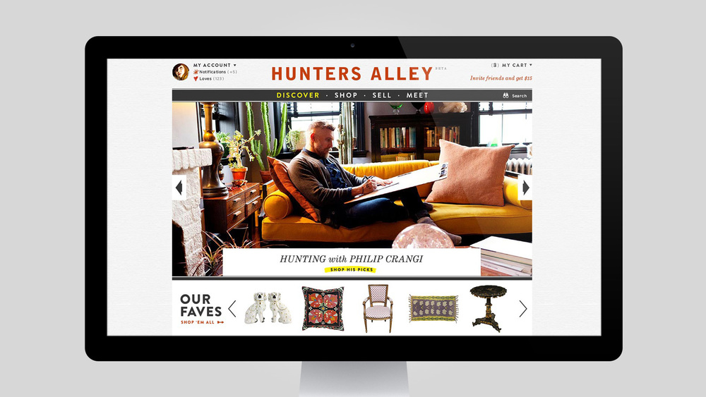 Hunter's Alley: Social E-commerce site. Visual design and production design.