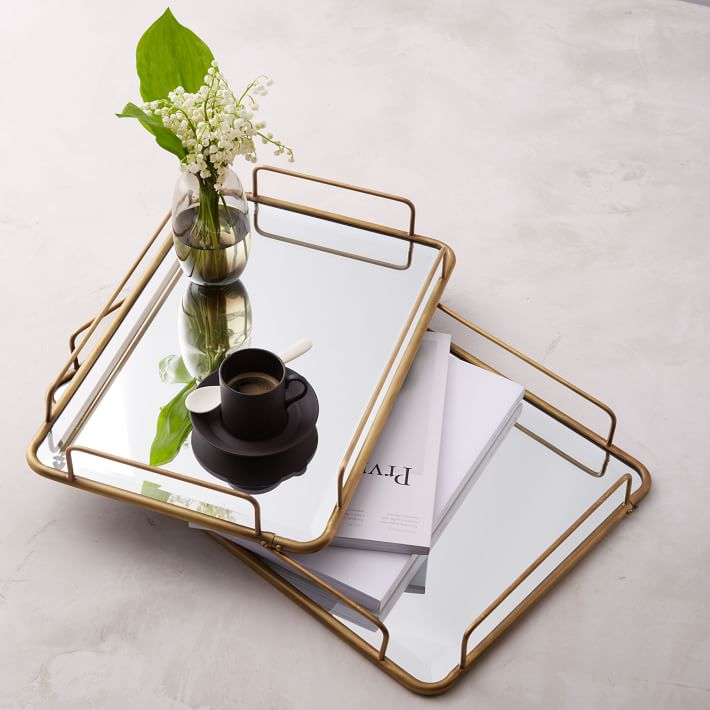 West Elm Gilded Cafe Mirror Tray