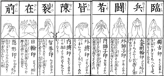 Kuji-in  Ninja hand signs give Shinobi warriors strength of mind and body.