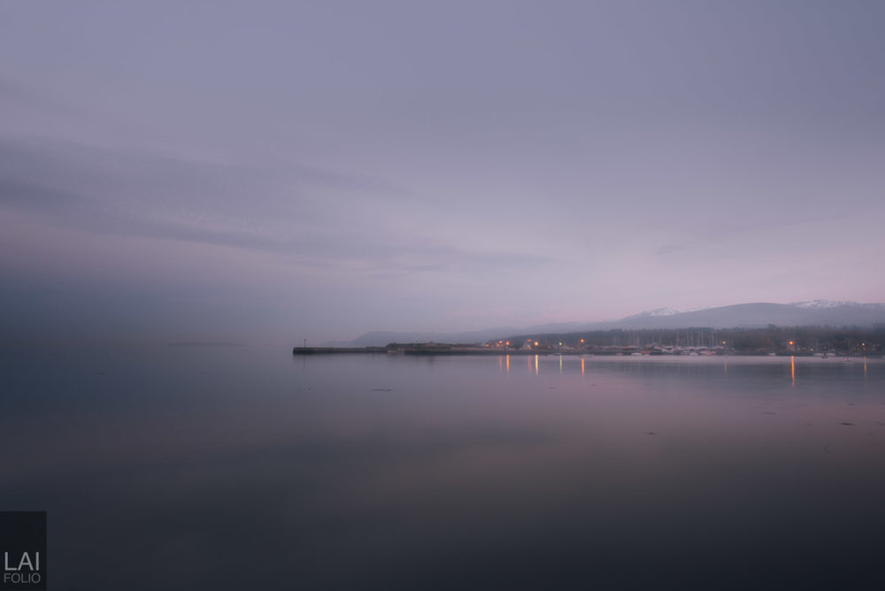 After sunset, fog gets thicker as light start to fade.