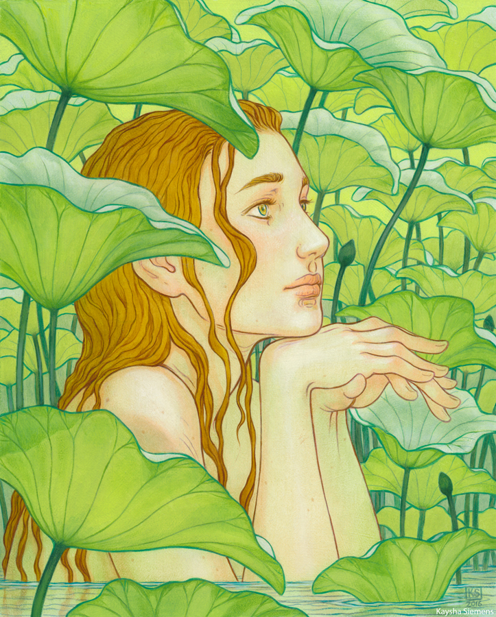 Amidst the Lotus Leaves    oil on board, 8x10 inches
