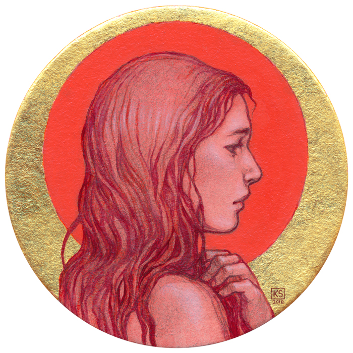 She was Listening to the Story    oil and 23K gold leaf on coaster, 4x4 inches