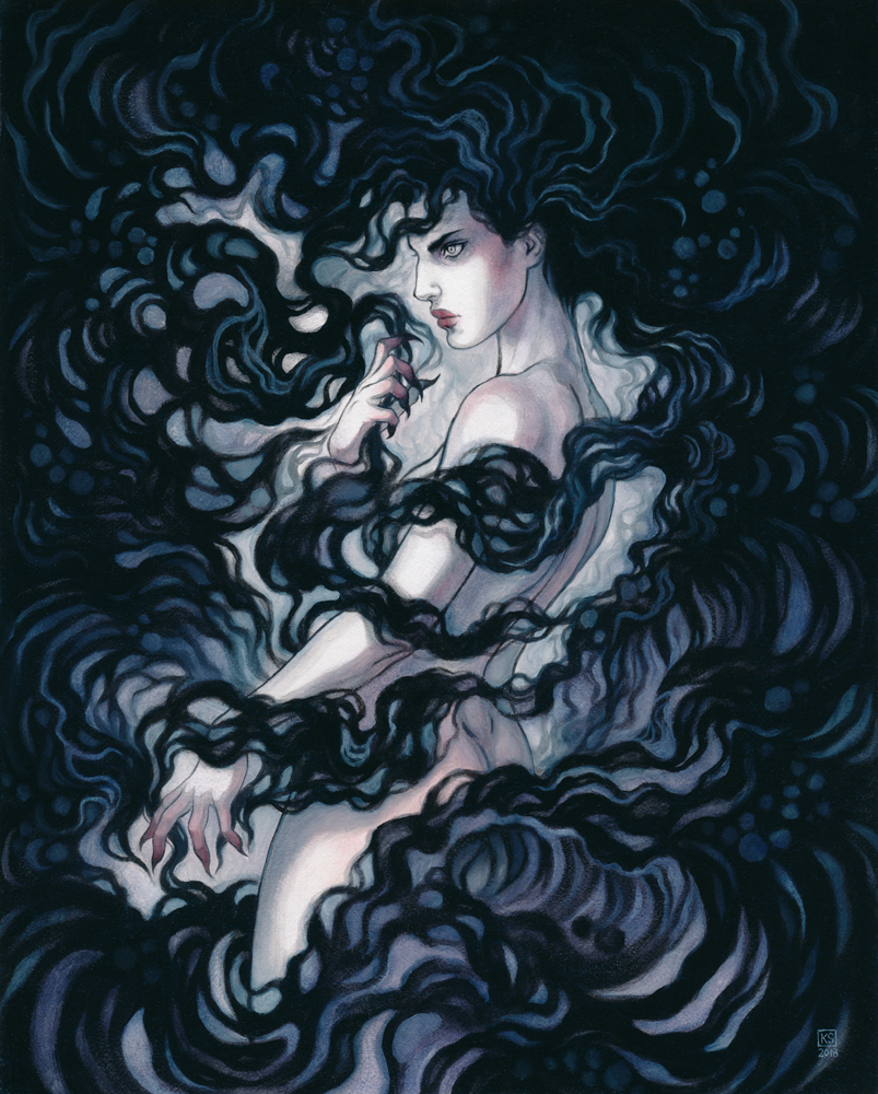 Mnemosyne:      Styx    oil on board, 8x10 inches  part of the Rivers of the Underworld series