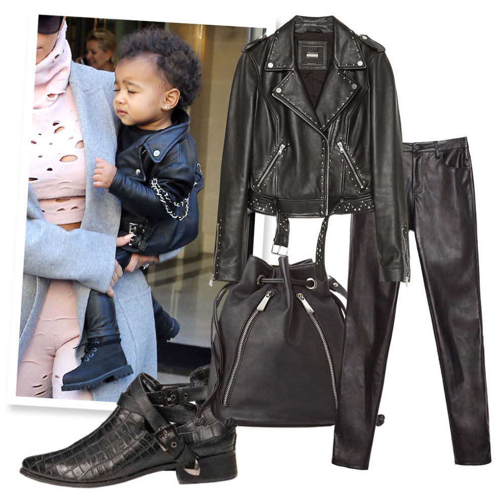 Studded Moto Jacket , ZARA, $199;  Zippered Bucket Bag , EXPRESS, $59; Faux Leather Skinny Jeans , ZARA, $70;  Faux Crocodile Wraparound Boots , YOINS, $40