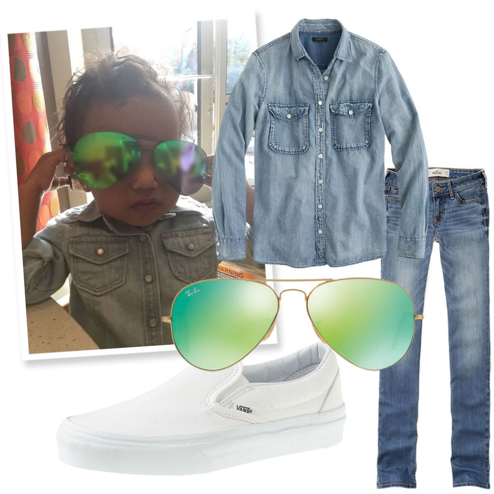 Green Aviators , RAY BAN (Available at Sunglass Hut), $170;  Chambray Shirt , J. CREW, $78;  Medium Wash Skinny Jeans , HOLLISTER, $25;  White Slip-On Sneakers , VANS (Available at J. Crew), $45