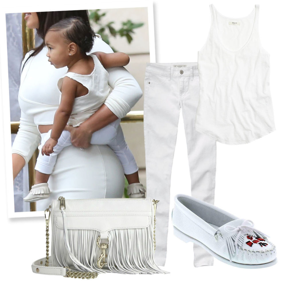 White Skinny Jeans , ABERCROMBIE & FITCH, $39;  Loose White Tank , MADEWELL, $15; White Suede Moccasins , MINNETONKA, $48;  Fringe Crossbody Bag , REBECCA MINKOFF (Available at Saks Fifth Avenue), $195