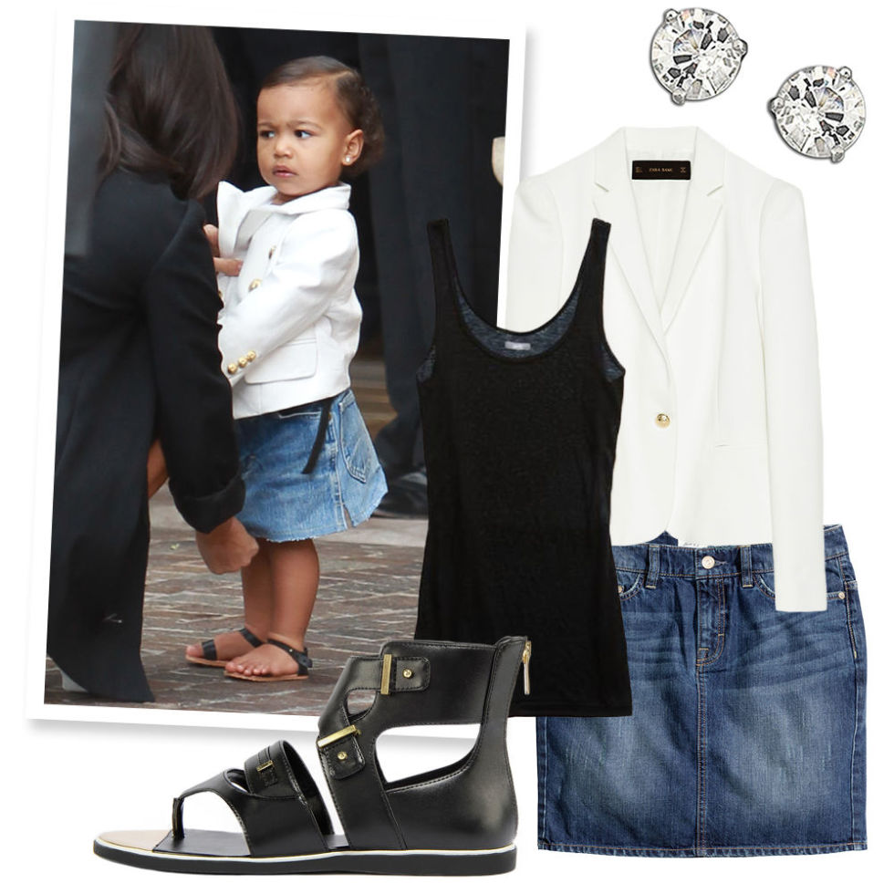 White Blazer , ZARA, $80;  Cotton Scoop Neck Tank , AERIE, $16;  Crystal Stud Earrings , SWAROVSKI (Available at Lord & Taylor), $69;  Denim Skirt , H&M, $30; Black and Gold Gladiator Sandals , CHARLES & KEITH, $63