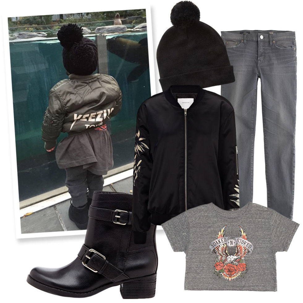 Floral Satin Bomber Jacket , SURFACE TO AIR (Available at Avenue 32), $150;  Grey Pom-Pom Beanie , FOREVER 21, $9;  Graphic Crop Top , BILLABONG, $24;  Stacked Motorcycle Boot , SOLE SOCIETY, $36;  Grey Skinny Jean , J. CREW, $120