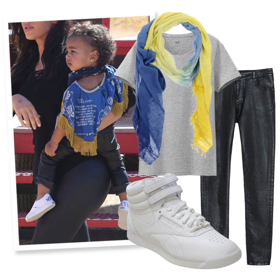Crew Neck Tee , UNIQLO, $13;  Gradient Scarf , 7 FOR ALL MANKIND (Available at Yoox), $105; Coated Black Jeans , ZARA, $70;  High Top Sneakers , REEBOK (Available at Infinity Shoes), $65