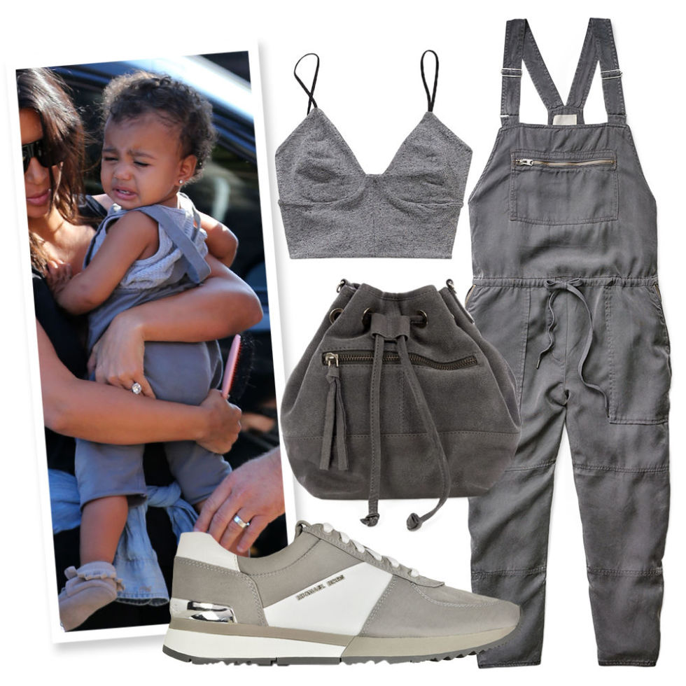 Lightweight Gray Overalls , ARITZIA, $145;  Bustier Crop Top , ARITZIA, $35;  Suede Bucket Bag , OASIS, $27;  Leather Sneaker , MICHAEL KORS (Available at Forzieri), $135