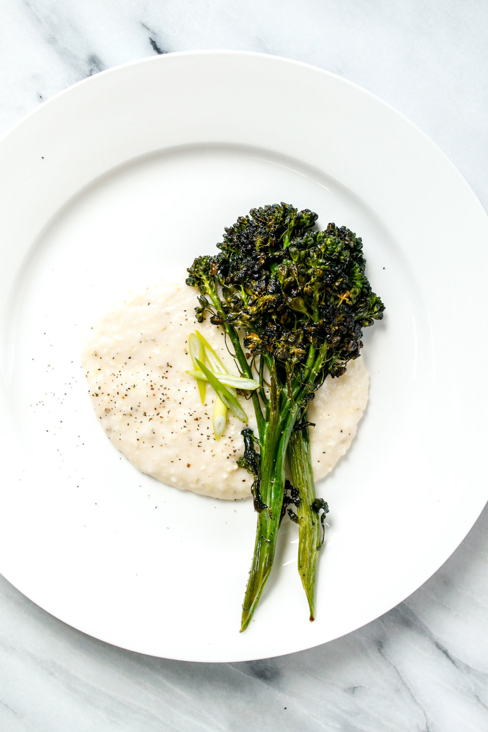 Cheddar Grits with Roasted Broccoli GLUTEN FREE