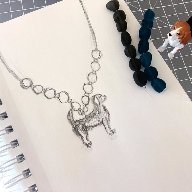 I made my son some holiday jewelry this year (swipe for pics) and now he wants more. His next request was a beagle (we are beagle people here). I'm going to go more earthy with the accent beads this time and use recycled glass. So here's my daily sketch plus design idea rolled into one. . . . #jewelry #jewelrysketch #dailysketch #quicksketch  #art #artist #artwork  #drawing  #artlife  #artgram #artgallery #artstagram  #artlover #sketch #design  #designer #style #illustration  #drawing #jewelrydesigner #handmadejewelry #bohostyle #bohostylejewelry #kidsjewelry #workinprogress #dailyhabit #makersgonnamake #beaglegram #momlife #craftymom #boymom