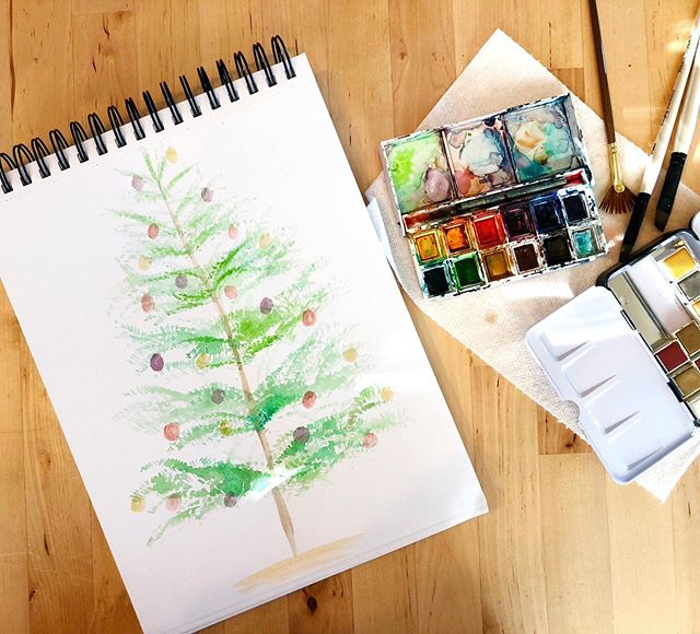 We put all of our Christmas decorations away this weekend and the house is feeling much less festive. So I painted one of our trees for my daily sketch. . . . #dailysketch #christmastree beaglegram #watercolor #art #artist #artwork #painting #drawing  #instagood  #artlife  #artgram #artgallery #artworks #artstagram  #artlover #sketch #design #designers #designer #style #illustration #graphicdesign #graphics #drawing