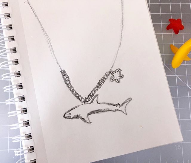Sometimes for my daily sketch I just fall back on a jewelry design idea. I've had a lot of kids jewelry ideas lately, thanks to my 4-year-old's love of necklaces. And he'll badger me into making them, too (unlike those sketchbooks full of adult jewelry I have - I guess I need an adult to badger me into making those 😂😂😂). . . . #jewelry #jewelrysketch #dailysketch #quicksketch  #art #artist #artwork  #drawing  #artlife  #artgram #artgallery #artstagram  #artlover #design  #designer #style #illustration  #drawing #jewelrydesigner #handmadejewelry #bohostyle #kidsjewelry #workinprogress #dailyhabit #makersgonnamake #momlife #craftymom #boymom #babyshark