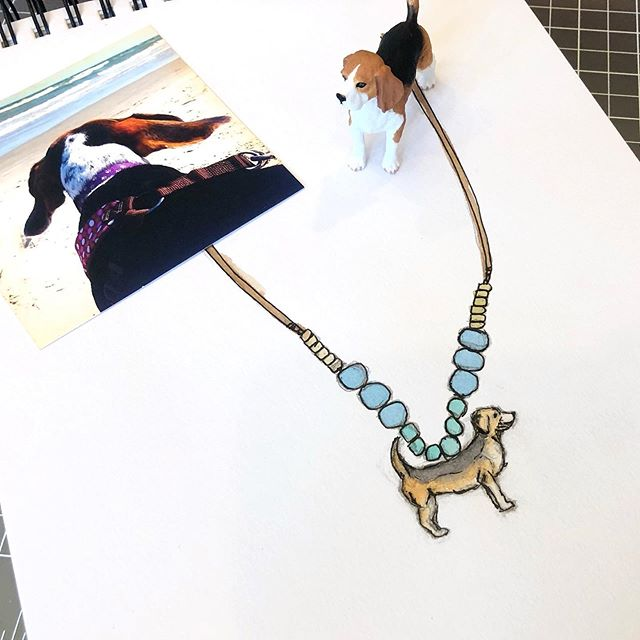A beagle necklace sketch inspired by a the color palette in a picture of my sassy girl Lucy Belle (RIP 12/10/18 - miss her so much). . . . #jewelry #jewelrysketch #dailysketch #quicksketch  #art #artist #artwork  #drawing  #artlife  #artgram #artgallery #artstagram  #artlover #design  #charlestonblogger #designer #style #illustration  #drawing #jewelrydesigner #handmadejewelry #bohostyle #bohostylejewelry #kidsjewelry #workinprogress #dailyhabit #makersgonnamake #beaglegram #momlife #craftymom #watercolor