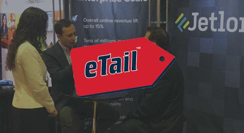 Jetlore CEO Eldar Sadikov and COO Montse Medina speak with a reporter at the Jetlore trade show booth at Etail West, 2016.