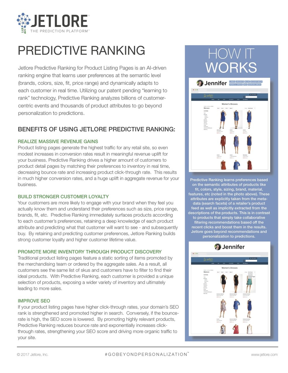 Jetlore's predictive ranking uses Artificial Intelligence to rank and surface all e-commerce products for each customer in real time in the highest traffic pages.