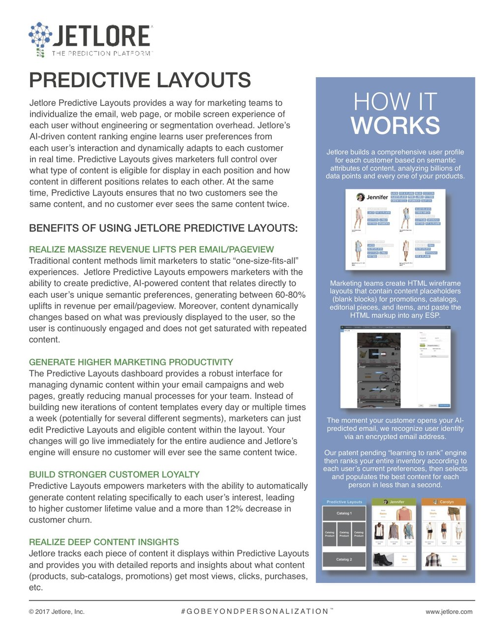 Jetlore predictive layouts datasheet, describing how our AI technology helps create an individualized experience for consumers in email, web, and mobile channels.