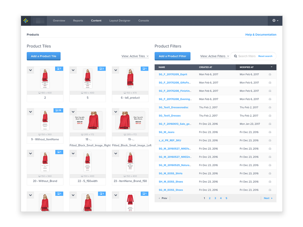 Jetlore's content dashboard where retailers and B2C marketers can upload and edit their site assets, products, and creative copy to be surfaced later via Artificial Intelligence.