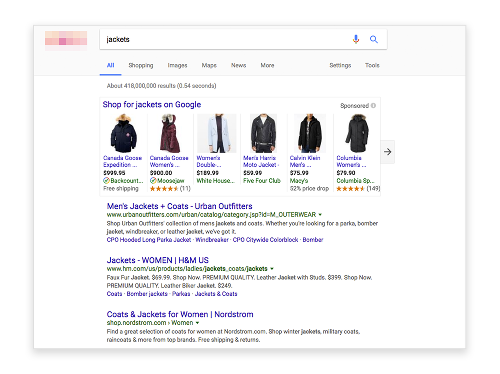Google search page for jackets with pages experiencing improved SEO from Jetlore's Predictive Ranking technology.