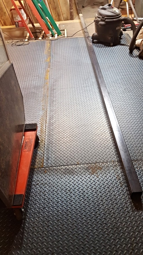 Steel plate on floor