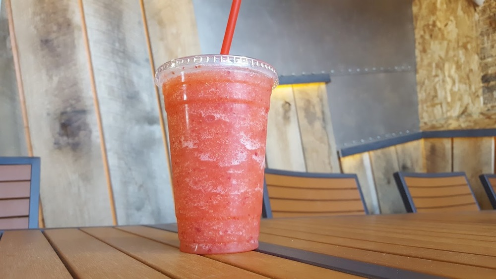 Fresh strawberries blended with tart lemonade and ice for a super, refreshing drink.