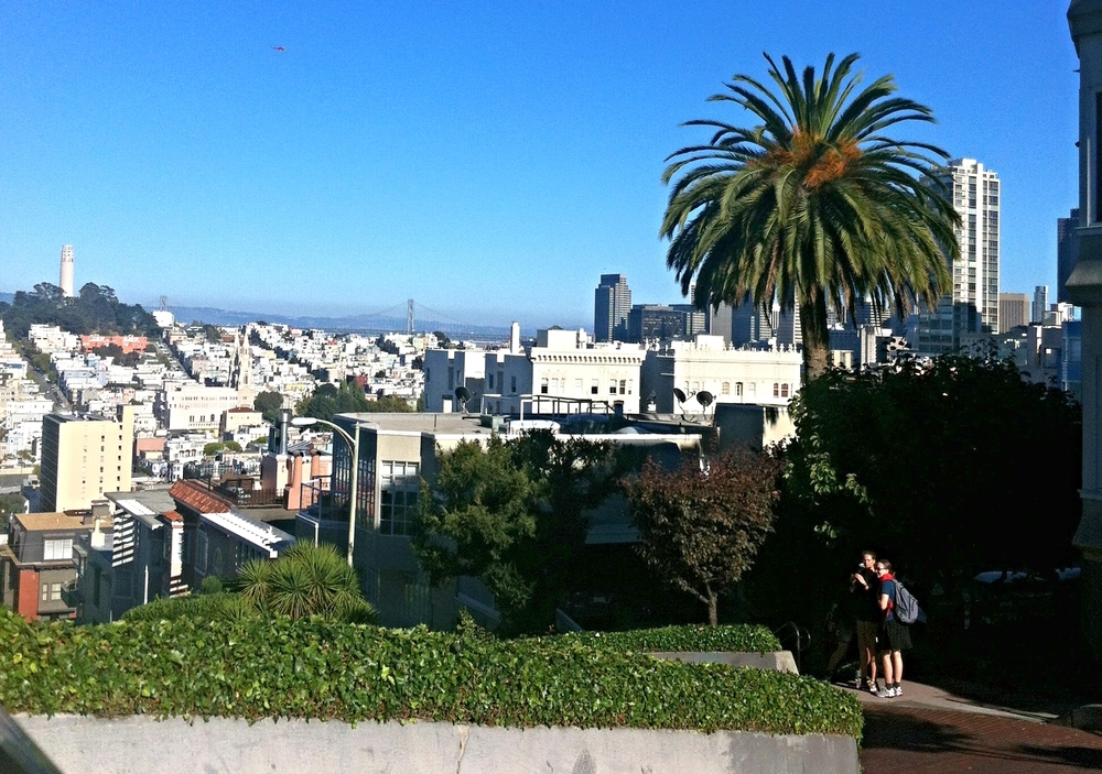 The view from the top of Lombard St.