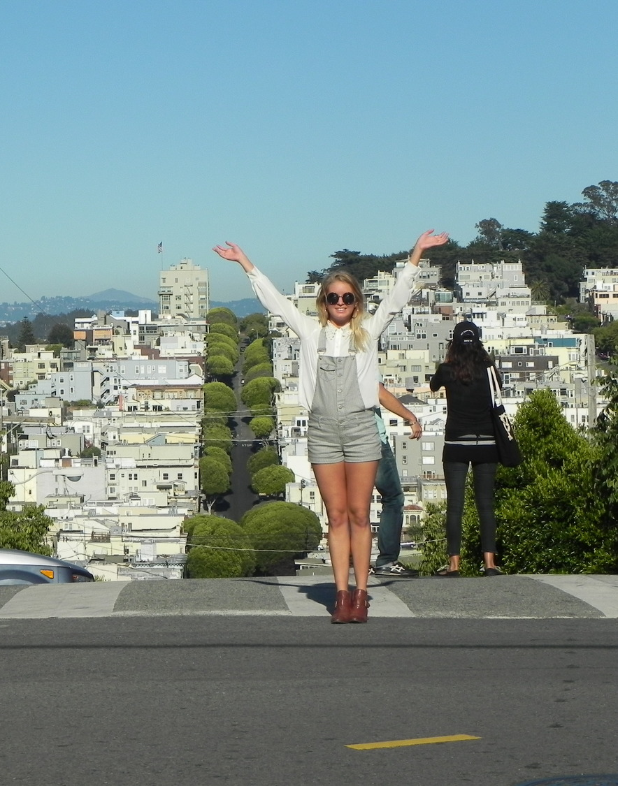 Lombard Street is on a 27 degree angle and has 8 very, very tight turns, attracting tourists from all over the world. This beautiful view is well worth the scary climb on foot!