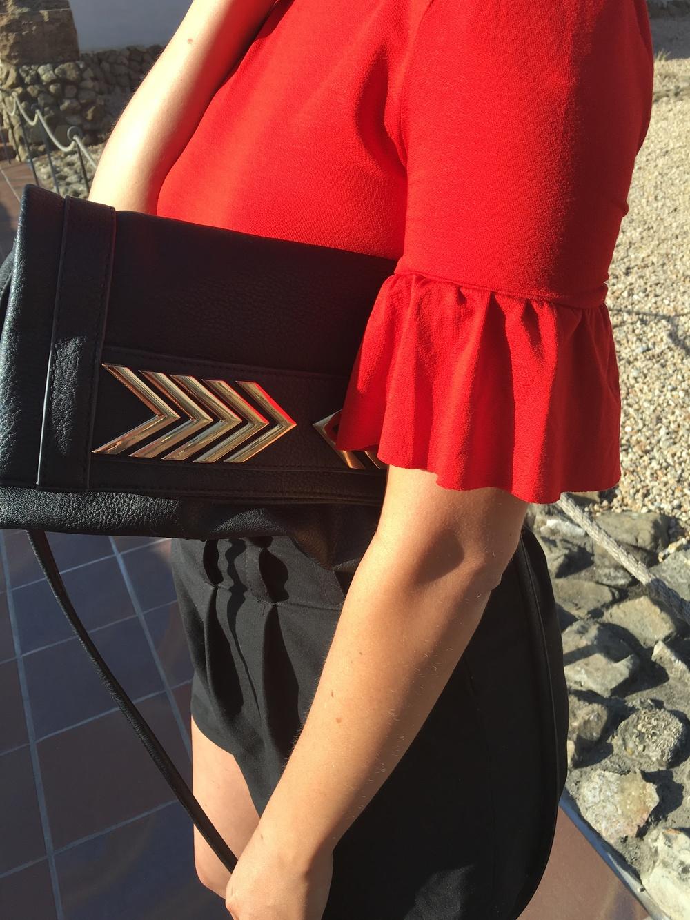 Red Bell Sleeve Bodysuit