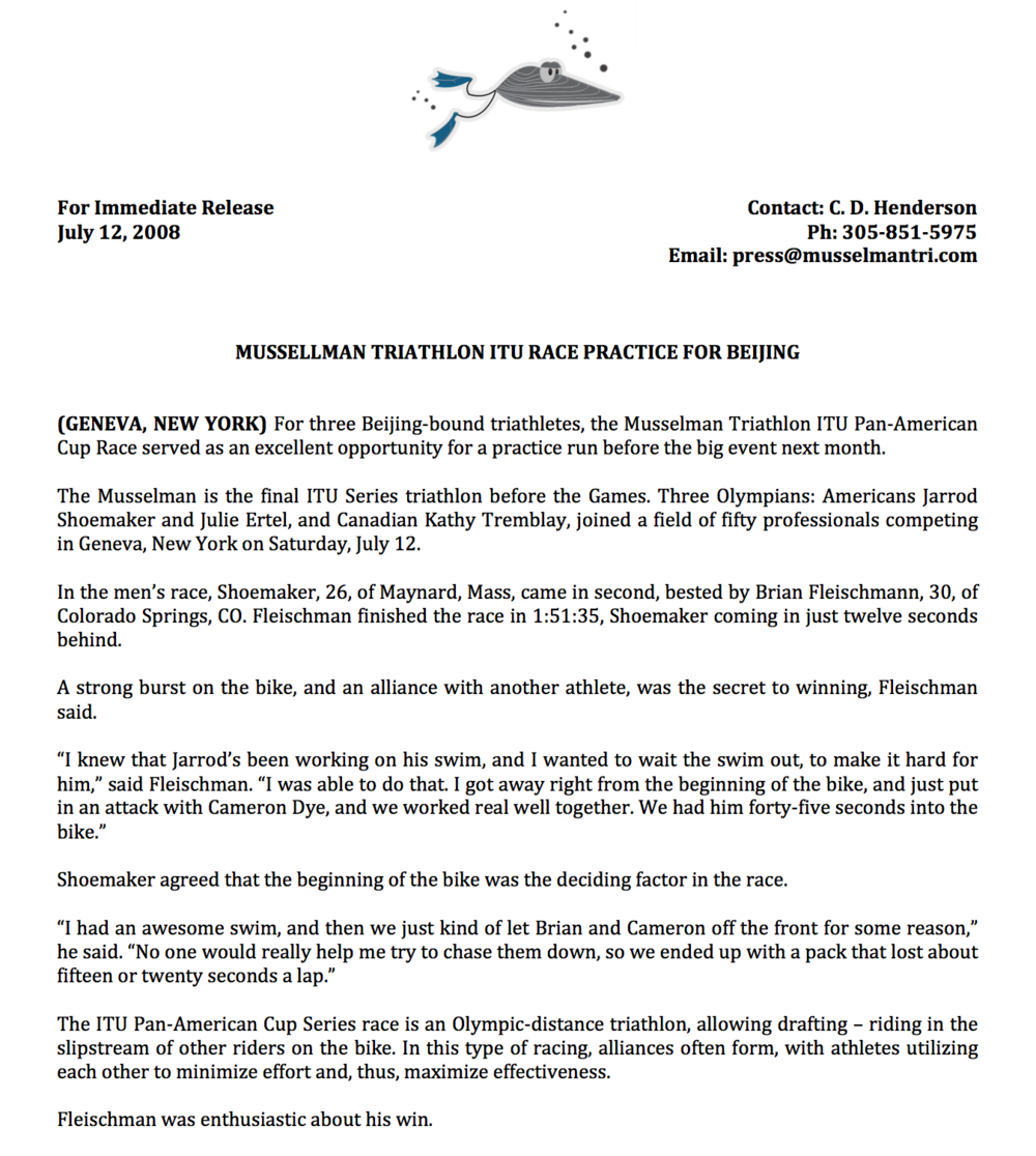 Press Release: Musselman Triathlon, 2008 [PDF]