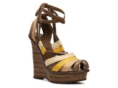 Bottega Veneta Raffia Wedge Sandals