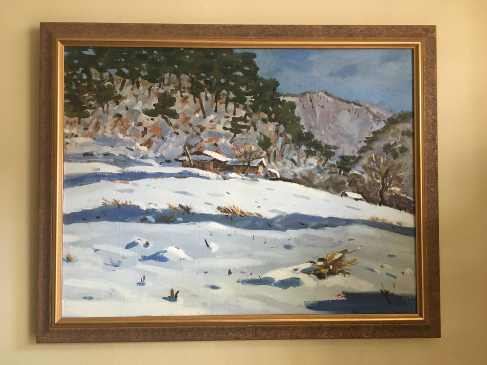 "Winter 겨울 - Oil on canvas16"" x 20"", framedStarting bid:  $200Current highest bid: $225To place a new bid: $230+This landscape depicts a snowy winter's day in Gangwon-do, a mountainous province in northeast South Korea."