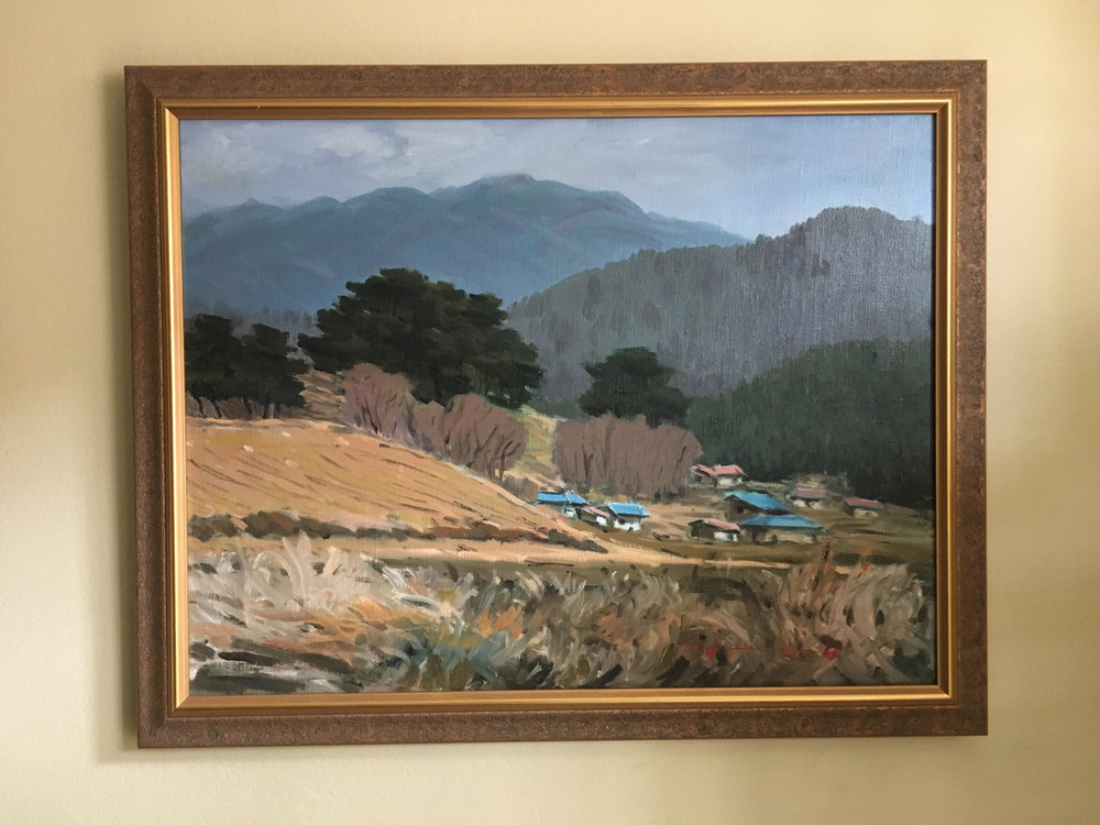 "Spring 봄 - Oil on canvas16"" x 20"", framedStarting bid:  $200Current highest bid: $225To place a new bid: $230+An early spring day; every house is preparing for farming."